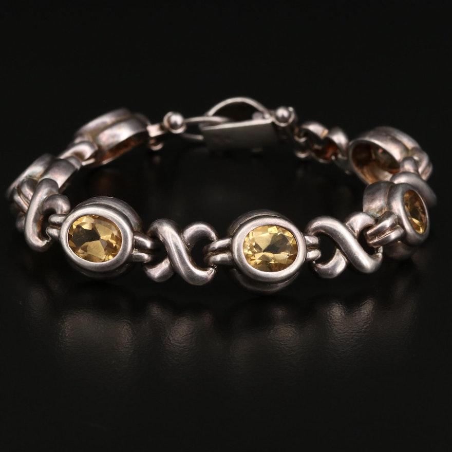Sterling Silver Citrine Crossover Chain Bracelet