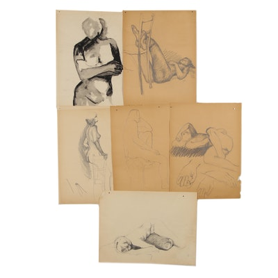 Modern Charcoal and Ink Figurative Gesture Drawings, circa 1960s