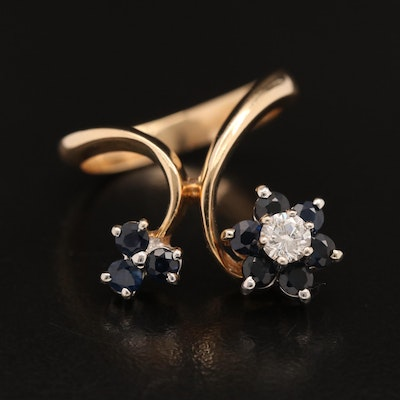 14K Diamond and Sapphire Floral Ring