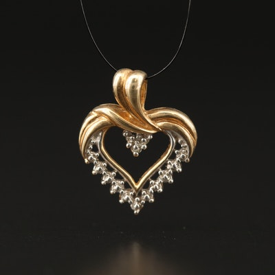 10K Heart Pendant with Diamond Accent