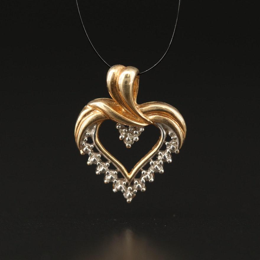 10K Heart Pendant with Diamond Accent