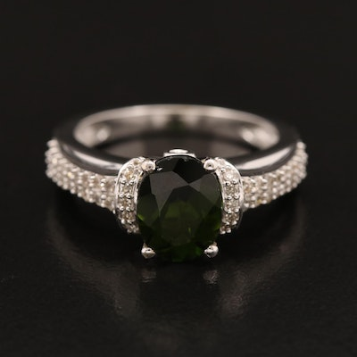 14K Tourmaline Ring with Pavé Diamond Shoulders