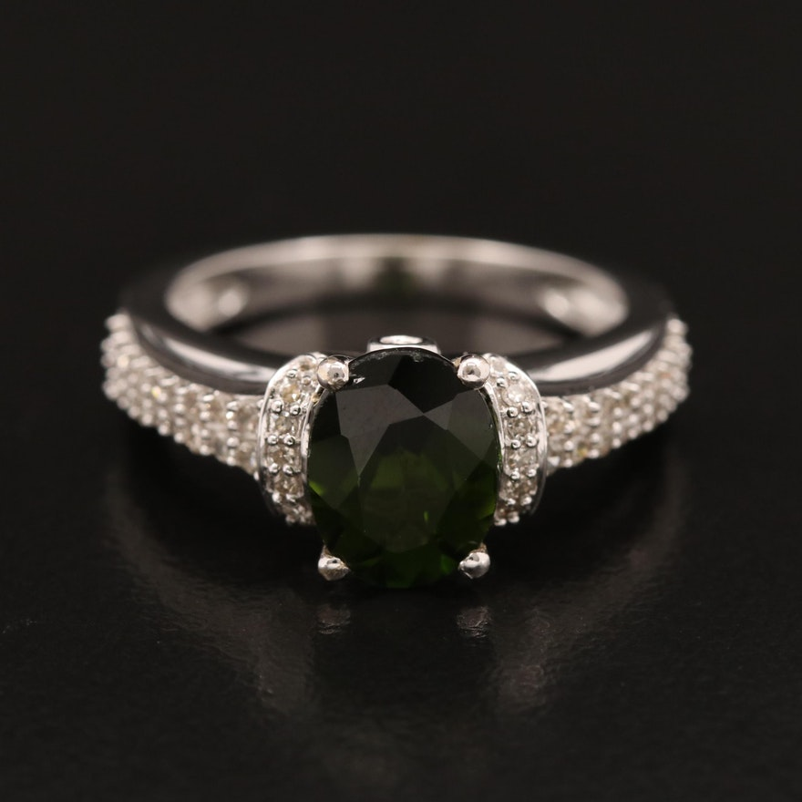 14K Tourmaline Ring with Pavé Diamond Shoulders