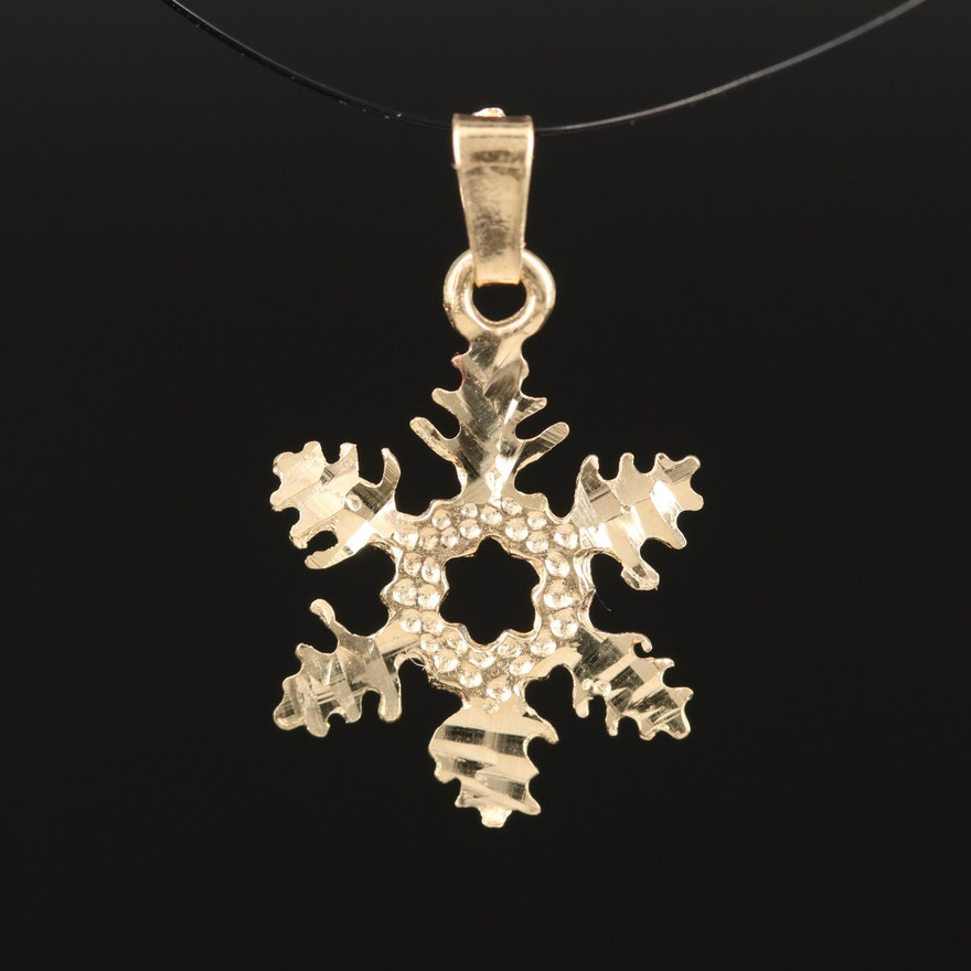 14K Diamond Cut Snowflake Pendant