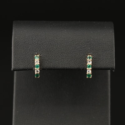 10K Emerald and Topaz J-Hoop Earrings