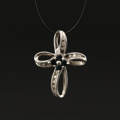 10K Sapphire and Diamond Cross Pendant