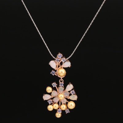 Sterling Opal, Tanzanite and Faux Pearl Floral Pendant Necklace