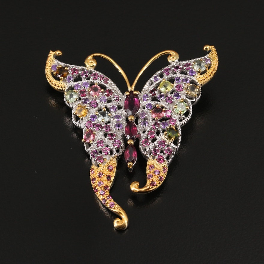 Sterling Silver Rhodolite Garnet, Tourmaline and Amethyst Butterfly Brooch
