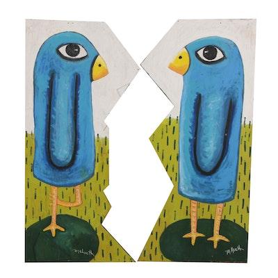 """Mitch Huett Folk Art Diptych """"The Giant Bluebird of Happiness"""""""