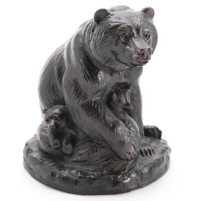 Joseph Boulton Bronze Sculpture of Bear and Cubs