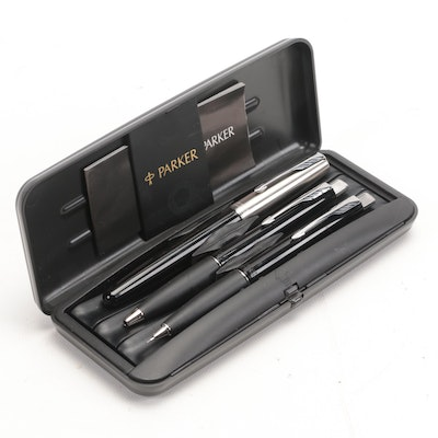"""Parker """"Frontier"""" Fountain and Ballpoint Pens and Mechanical Pencil in Case"""
