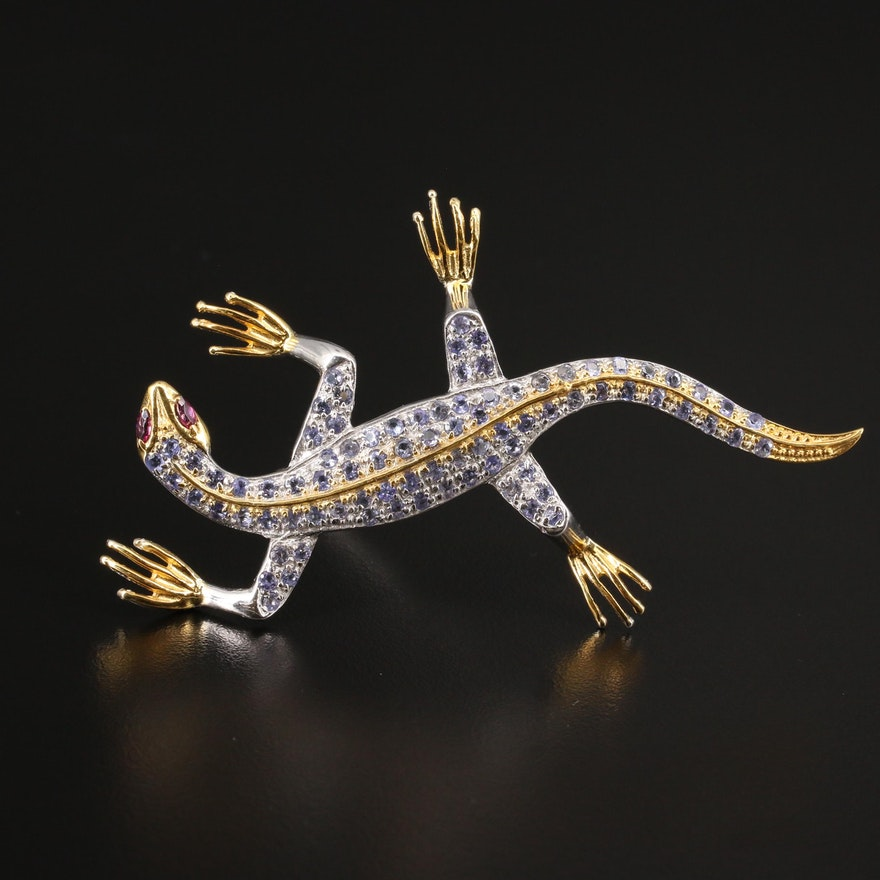 Sterling Rhodolite Garnet and Tanzanite Lizard Brooch