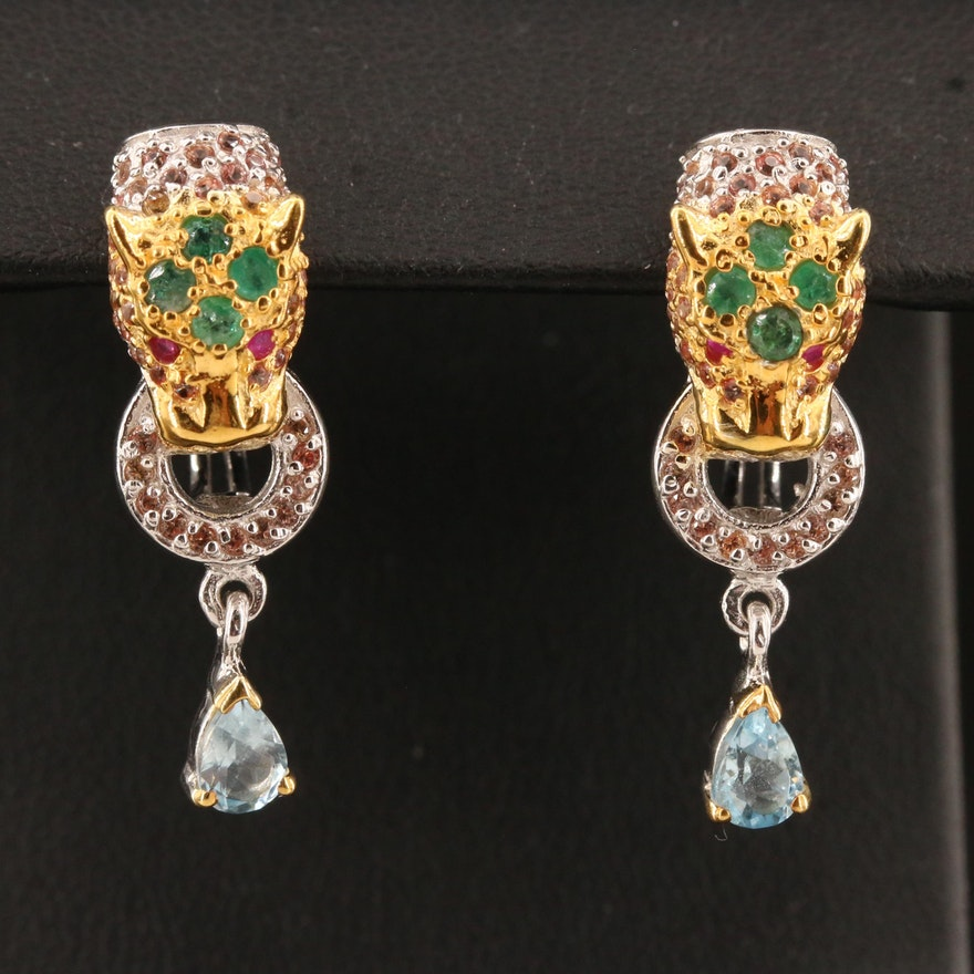 Sterling Silver Emerald and Sapphire Panther Head Door Knocker Earrings