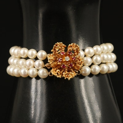 14K Pearl Multi-Strand Bracelet with Diamond and Ruby Flower Clasp