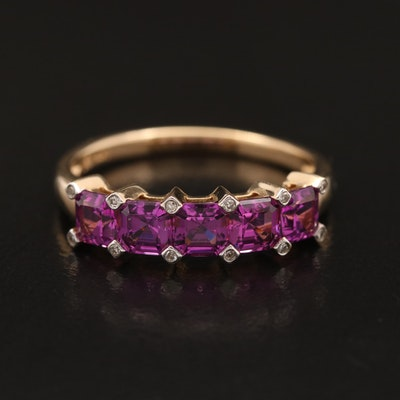 14K Rhodolite Garnet and Diamond Band