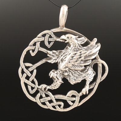 Sterling Griffon Motif Pendant with Celtic Knots