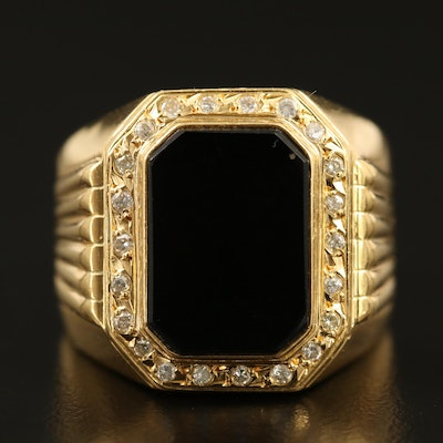18K Black Onyx and Diamond Ring