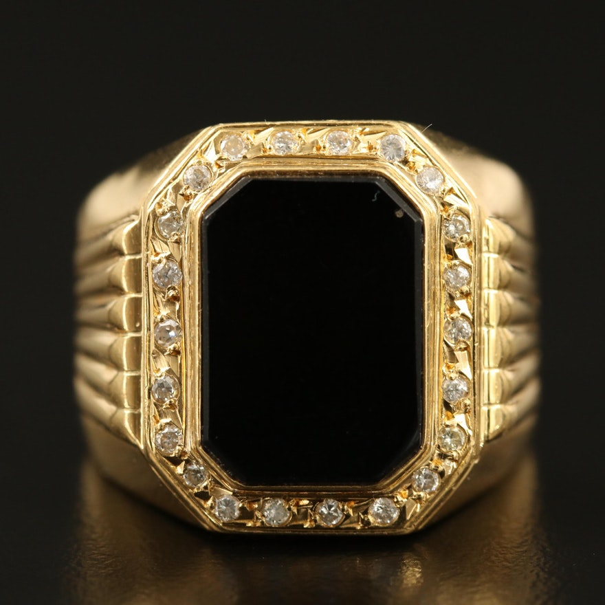 18K Black Onyx and Diamond Ring