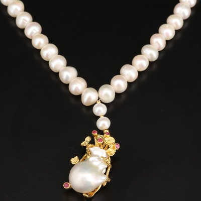 Sterling Pearl and Ruby Strand Necklace