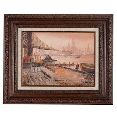 Abstract Marine Cityscape Oil Painting, 21st Century