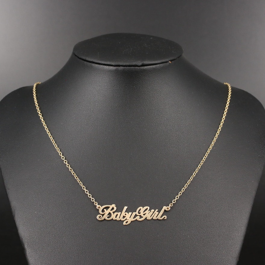 "14K ""Baby Girl"" Stationary Pendant Necklace"