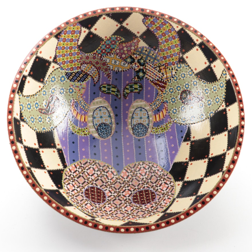 Tom McKittrick Hand-Painted Wood Bowl with Patterned Cow Face, 2013