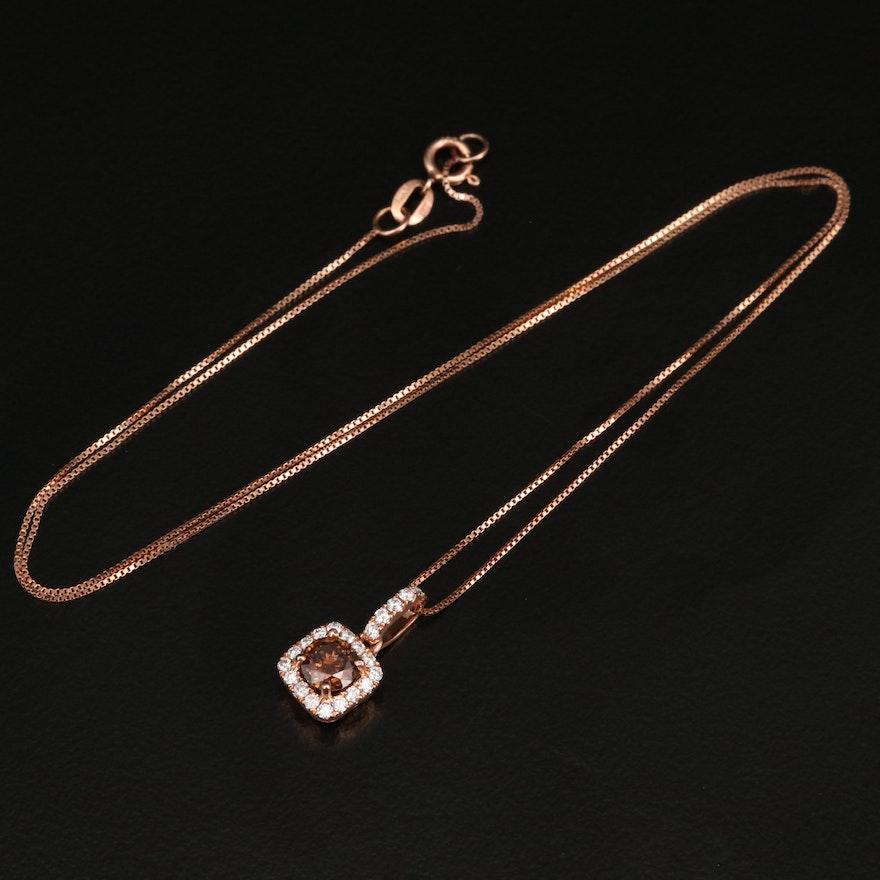14K Diamond Halo Pendant on Box Chain Necklace