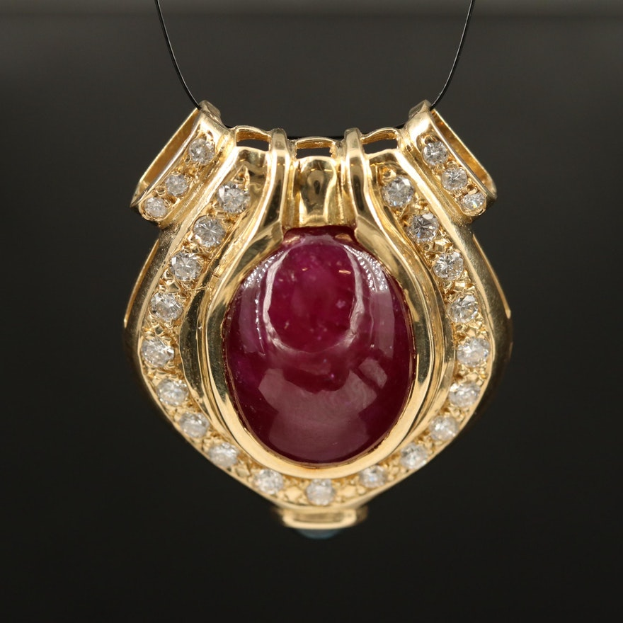 14K 16.30 CT Ruby, Sapphire and 1.53 CTW Diamond Pendant