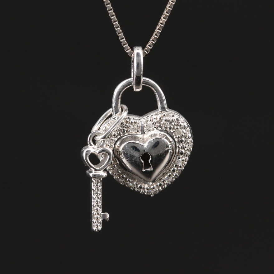 14K Diamond Heart Lock and Key Pendant Necklace