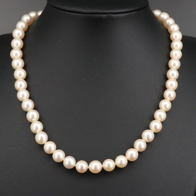 Pearl Strand Necklace with Diamond Accent Bead and 14K Clasp