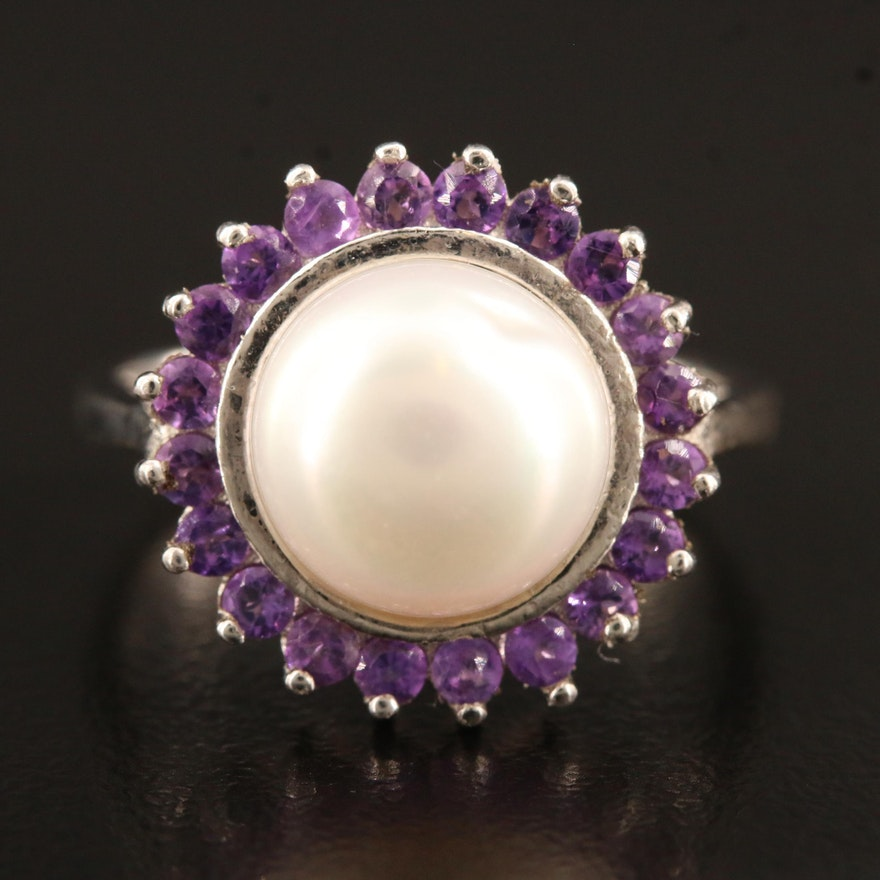 Sterling Silver Mabé Pearl Ring with Amethyst Halo