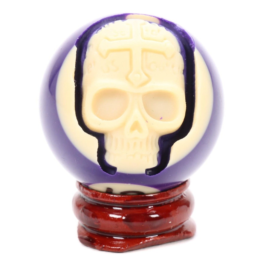 Billiard Ball Skull Carving with Display Stand
