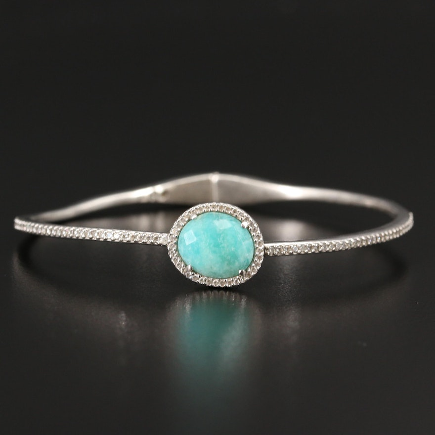 Sterling Silver Amazonite and Cubic Zirconia Hinged Bangle