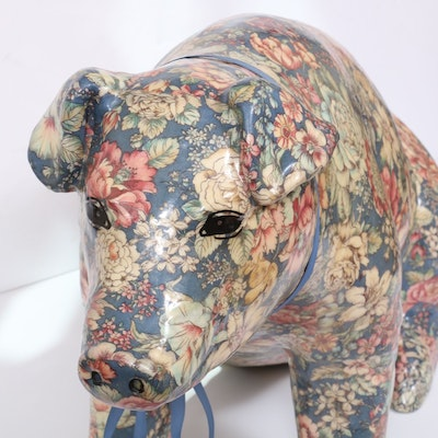 """Robroy Decoupaged Plaster Lifesized """"Young Pig"""" Piggy Bank, Vintage"""