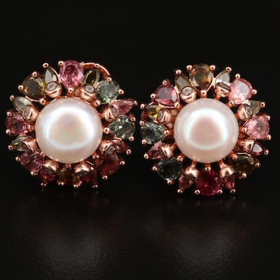 Sterling Silver Pearl, Tourmaline and Cubic Zirconia Earrings