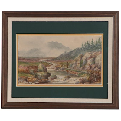 Edward D. Harrison Pastoral Landscape Watercolor Painting, 19th/20th Century