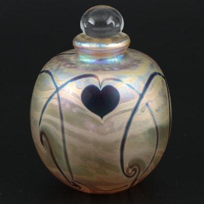 Eickholt Studio Iridescent Art Glass Perfume Bottle, 1983