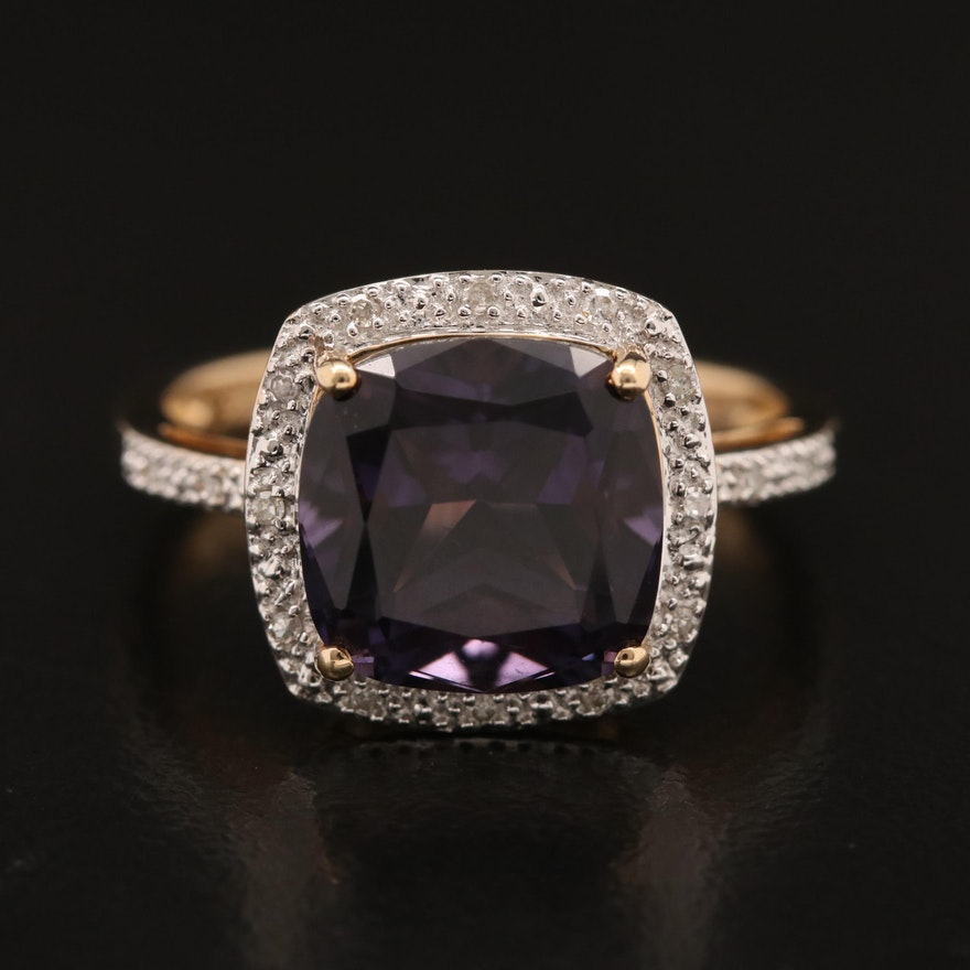 14K Amethyst and Diamond Halo Ring