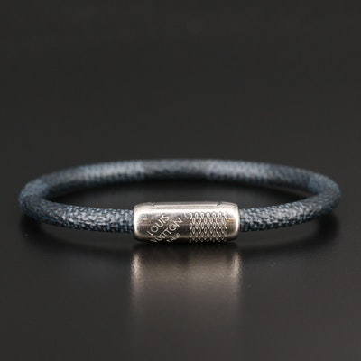 "Louis Vuitton ""Keep It"" Coated Canvas Bracelet in Damier Graphite"