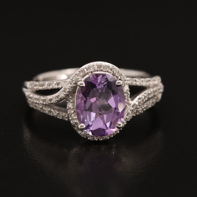 10K Amethyst and Diamond Ring with Open Shoulders