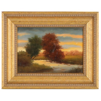 """Jane Bloodgood-Abrams Oil Painting """"Trees Over The Creek,"""" 1998"""