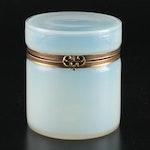 Murano Opaline Glass Lidded Jar, Mid-20th Century