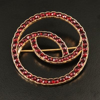 18K Garnet Circle Brooch