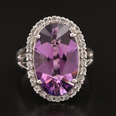 14K Amethyst Ring with White Topaz Halo