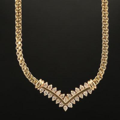 14K Diamond Chevron Necklace