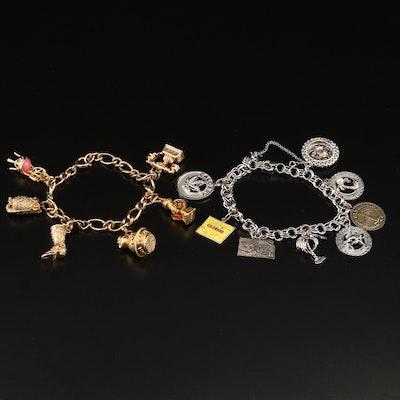 Vintage Charm Bracelets Including Sterling Silver