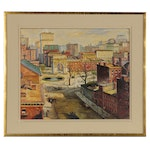 Oil Painting of Cityscape, 20th Century