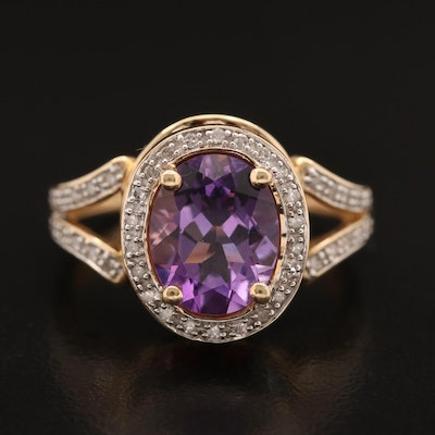14K Amethyst and Diamond Ring with Mixed Gemstone Gallery
