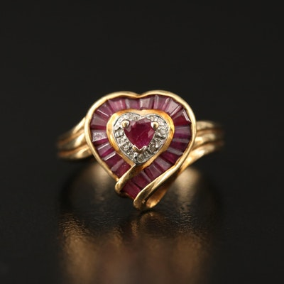 10K Ruby and Diamond Heart Ring