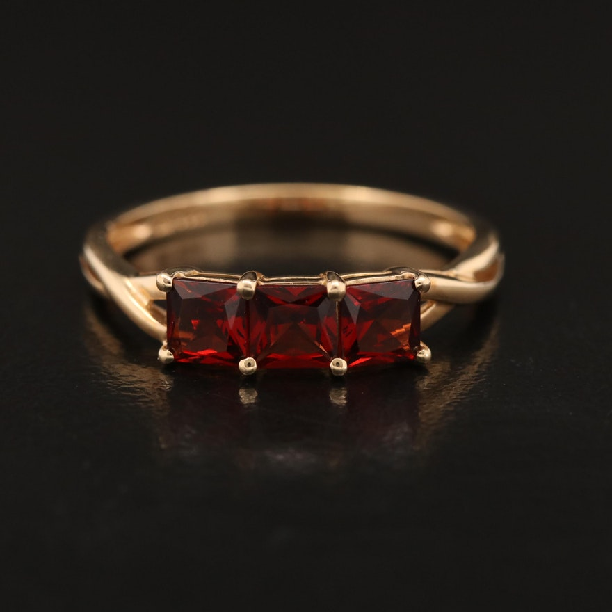 14K Garnet Three Stone Ring with Twist Shoulders